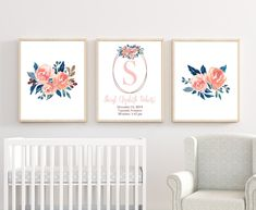Add these beautiful floral Nursery Wall Decor to finish the nursery room. HOW TO ORDER-Choose Print Size-Choose Color or Custom Color (color chart is in listing)If Custom Color was chos. Baby Room Wall Art, Nursery Artwork, Nursery Room Decor, Coral Nursery, Nursery Colours, Floral Bedroom Decor, Art Floral, Baby Shower, Navy