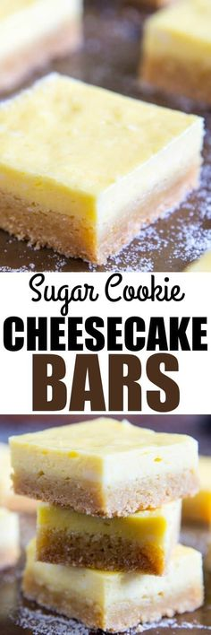 Sugar Cookie Cheesecake Bars are decadent without being overly sweet. Start with a package of sugar cookie mix and add a creamy cheesecake filling! Sugar Cookie Cheesecake, Sour Cream Sugar Cookies, Cheesecake Bars, Cheesecake Recipes, Cookie Recipes, Dessert Recipes, Bar Recipes, Easy Desserts, Delicious Desserts