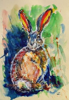 ARTFINDER: Big-eared by Zaira Dzhaubaeva - Original watercolor painting on paper.  Hare in impressionist style.  Please note that the colors of the original paintings are always slightly different...