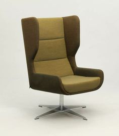 hush chair in two tone upholstery on a swivel base