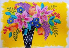 Easy Floral Acrylic Bohemian Vase Painting Tutorial by Angela Anderson on YouTube | Learn How to Paint Impressionist Lilies, Lilacs and Tulips