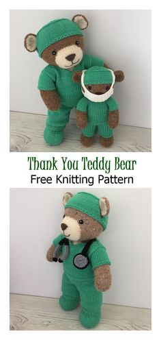 Thank You Teddy Free Knitting Pattern Knitting Teddy Bear Clothes Knitting Bear, Knitting Dolls Free Patterns, Teddy Bear Knitting Pattern, Knitted Dolls Free, Knitted Teddy Bear, Free Knitting, Knitted Nurse Doll Pattern, Knitting For Dolls, Teddy Bears