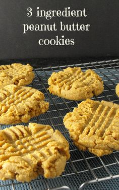 3 Ingredient Peanut Butter Cookies (flour free) These are so easy to make and they are really yummy too :)