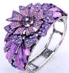 Vintage Purple Swarovski Crystal Flower Bracelet 45 A | eBay