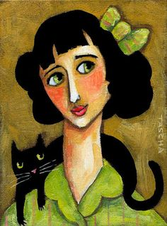 ORIGINAL portrait of woman with BLACK CAT acrylic painting on canvas