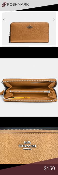 Coach Wallet Coach pebbled leather wallet. 12 credit card slots. Full-length bill compartments. Zip coin pocket. Zip around closure. Outside pocket. Fits phone size up to iPhone 7 Plus. I bought this directly from Coach. Have receipts. Perfect condition. Picture of receipt. I've had this wallet for about a month. Coach Bags Wallets