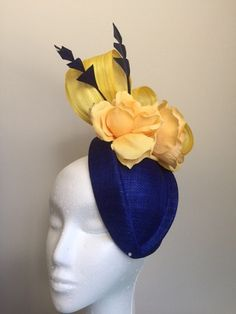 Blue and yellow fascinator with silk abaca loops,feathers and flowers. Yellow Fascinator, Cream Fascinator, Fascinator Headband, Fascinators, Headpiece, Tea Party Hats, Metal Headbands, Pink Orchids, Fancy Hats