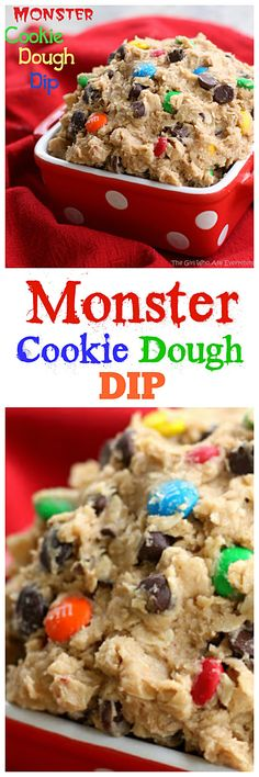 Monster Cookie Dough Monster Cookie Dough Dip - peanut butter chocolate chips m&ms oats all in a dip. Ive eaten a whole bowl by myself. the-girl-who-ate- Dessert Dips, Dessert Parfait, Dip Recipes, Cookie Recipes, Snack Recipes, Dessert Recipes, Oreo Desserts, Fancy Desserts, Plated Desserts