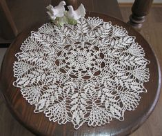 Beige Decor Crochet Lace Doily Table Decor by DoliaGalinaCrochet