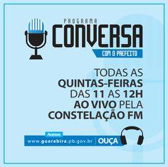 Todas as Quinta-Feira você tem um encontro marcado com o Programa institucional da Prefeitura de Guarabira: Você acompanha através do nosso site: http://www.guarabira.pb.gov.br/aovivo/