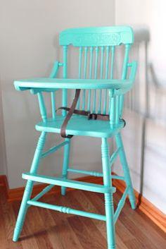 antique high chair repainted! LOVE