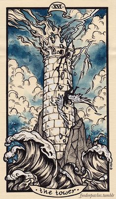The Tower Tarot card: I love the watercolor quality of this tarot card, and I think drawing my own design and digitally coloring it in would be interesting. Tarot Card Decks, Tarot Cards, Tarot Card Art, The Tower Tarot Card, The Tower Tarot Meaning, The Moon Tarot Card, Tarot Card Tattoo, Tarot Astrology, Tarot Major Arcana