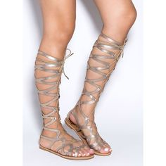 79058ab951f Fierce Fashionista Gladiator Sandals GOLD (110 BRL) ❤ liked on Polyvore  featuring shoes