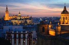 Man Made Seville  Cathedral City Night Twilight Andalusia Spain Wallpaper