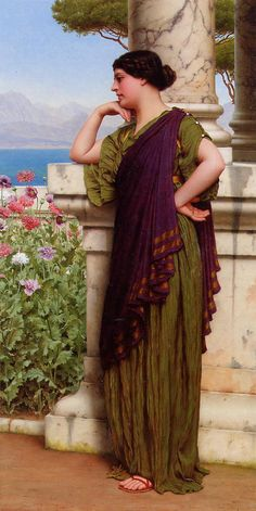 Tender Thoughts: 1917 by John William Godward (Private Collection - Location Unknown) Pre-Raphaelite