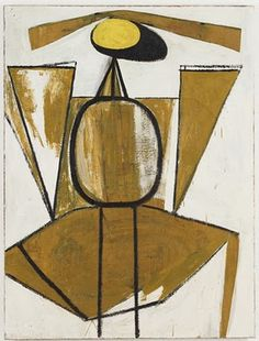 Robert Motherwell - Personage with Yellow Ochre and White   www.artexperiencenyc.com