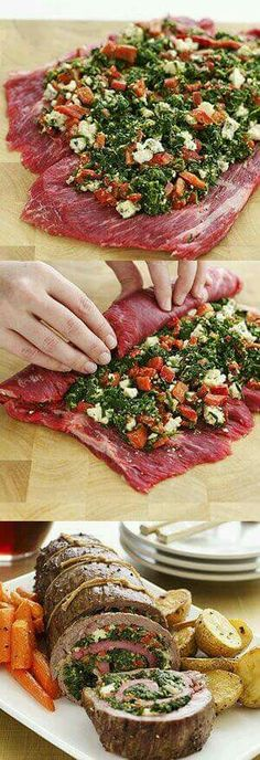 Flank steak stuffed with spinach, blue cheese roasted red peppers. I w… Flank steak stuffed with spinach, blue cheese roasted red peppers. I would substitute goat cheese for blue cheese. Flank Steak Recipes, Meat Recipes, Dinner Recipes, Cooking Recipes, Healthy Recipes, Recipies, Yummy Recipes, Steak Meals, Water Recipes