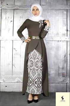 Dress brokat panjang 33 ideas for 2019 Islamic Fashion, Muslim Fashion, Modest Fashion, Fashion Dresses, Batik Fashion, Abaya Fashion, Dress Brokat, Mode Abaya, Abaya Designs