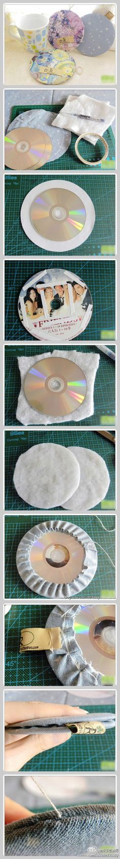DIY coasters using old CDs. I'm just going to use hot glue instead.