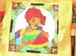 Drawn and painted on fabric - SA Tribal Placemats - Sotho Woman
