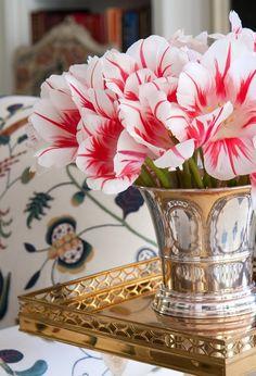 Red & White Tulips in Silver Vase