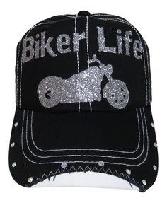"NEW! Silver Glitter ""Biker Life"" Black Baseball Cap with Rhinestones around the bill of the cap!  Order at www.shopspiritcaps.com"