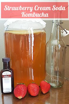 This Strawberry Cream Soda Kombucha recipe is a must-try! With just 3 ingredients, nutrition, & the flavor of strawberry pound cake, what's not to love? Kombucha Bottles, Kombucha Scoby, How To Brew Kombucha, Kombucha Brewing, Kefir Recipes, Healthy Recipes, Drink Recipes, Yummy Drinks, Healthy Drinks