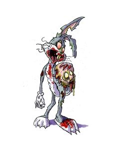 What's up Doc? Disney Horror, Zombie Disney, Horror Art, Cartoon Crazy, Dope Cartoon Art, Cartoon Pics, Bugs Bunny Drawing, Dark Alice In Wonderland, Bunny Tattoos