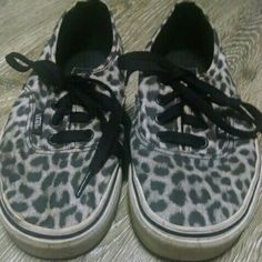 Sale! Leopard Vans Grey , black + white leopard vans. Only sign of wear is on insoles (pictured) but can most likely be cleaned up.   ****** Love it? Make an offer! *** Vans Shoes Sneakers
