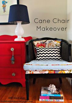 Great chair redo and, oh, that orange chest!    from the little black door