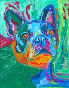 Boston terrier painting,boston bull terrier gift,boston bull, american gentleman gift,boxwood,boston bull abstract, boston… #dogs #etsy #art