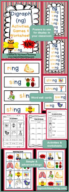 Are you after some new ideas to support your teaching of digraphs? Maybe you've already spent time working on digraphs with your students, but what you need now are some other ideas to review the concepts you've already taught. This digraph pack will provide you with fun, hands on activities and games for teaching the digraph /ng/.$ http://www.teacherspayteachers.com/Product/Digraph-Activities-Games-Worksheets-ng-1291851