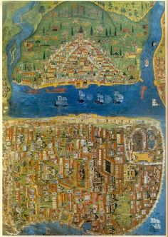 Ancient map of Istanbul. Vintage Maps, Antique Maps, Image Theme, Templer, Les Religions, Fantasy Map, Old Maps, City Maps, Historical Maps