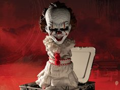 It (2017) Burst-A-Box Pennywise  Product Description  Mezcos Burst-A-Box is a pop culture infused twist on one of the most beloved classic toys the jack-in-the-box.  The It (2017) Burst-A-Box features Pennywise  the red balloon-toting demonic clown that terrorizes the children of Derry.  This fully functioning jack-in-the-box is approximately 14 tall when popped. The Burst-A-Box features a detailed head sculpt and a clothed spring body all encased in a tin music box.  Designed after his…
