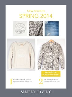 Gorgeous new Spring 2014 arrivals in particular the California Dreamer sweater and Leopard Army Jacket by Lily Aldridge for Velvet @velvet_tees