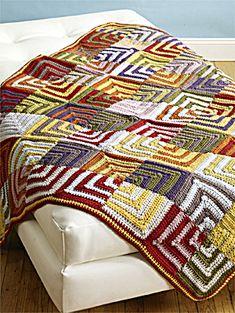 Free Crochet Pattern 70200AD Patchwork Persuasion Afghan : Lion Brand Yarn Company