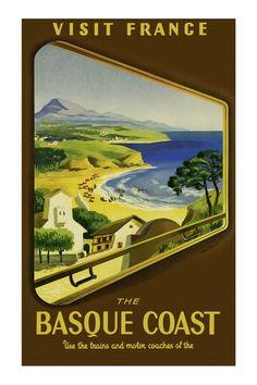 Vintage Poster - Basque Coast - Région : Aquitaine - Département : Pyrénées Atlantiques - France.