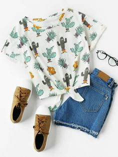 SheIn offers Cuffed Sleeve Knot Front Cactus Print Tee & more to fit your fashionable needs. Girls Fashion Clothes, Kids Outfits Girls, Teenager Outfits, Teen Fashion Outfits, Cute Fashion, Girl Outfits, Cute Summer Outfits, Cute Casual Outfits, Pretty Outfits