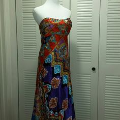 """MAKE AN OFFER  New Cache Formal/Prom Dress Stunning  Multi color Embellished  Maxi Formal/ Prom Dress. Fitted Padded Bust ,Wear Sleeveless  or With Enclosed  Spaghetti  Straps. Comes with extra Sequins / Beads. Has Tag,but half has been ripped off. Bust Across 17.5 """" Waist  17"""" Length From Armpit to Front 54"""" and Back 57"""". Zip back. Can't  Find the size on main tag. Store  tag  has  """"L"""" Cache  Dresses Prom"""