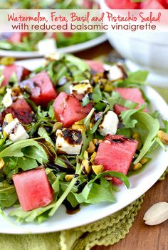 Watermelon, Feta, Basil and Pistachio Salad with Reduced Balsamic Vinaigrette is a light and refreshing summer salad recipe. | iowagirleats.com