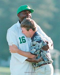 Ben Crenshaw wins the 1995 Masters tournament just days after his longtime teacher, Harvey Penick, had died. With his caddie, Carl Jackson.