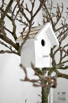hmm..paint the branch something solid, attach a contrast color birdhouse, place in garden. I'm on it.