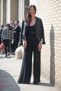 How to wear those wide leg black palazzos Street Style: New York Fashion Week Spring 2014