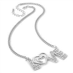Silver Tone Diamante Heart Moulin Rouge Bridal Wedding Eve Necklace Pendant