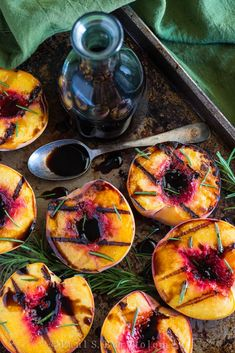 Grilled peaches with balsamic vinegar and rosemary - made this on skewers with pork - delish