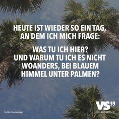 Heute ist wieder so ein Tag, an dem ich mich frage: WAs tu ich hier? Und warum tu ich es nicht woanders, bei blauem Himmel unter Palmen?