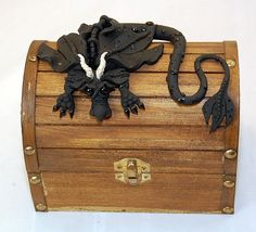 Ooak Polymer Clay Black Dragon on Chest by TammyPryce on Etsy, $45.00