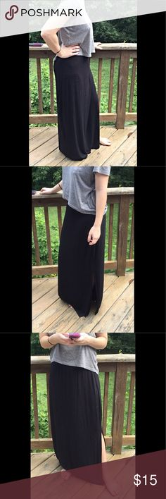 """Apt. 9 black maxi skirt Apt. 9 black maxi skirt.  95% rayon, 5% spandex.  Left side slit is 19 1/2"""".  Waist to hem is 41"""".  Marks from hanger on last pic.  Otherwise in excellent condition. Apt. 9 Skirts Maxi"""