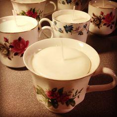 Diy craft candle in a cup. Vintage. Ljus i fina kaffekoppar.