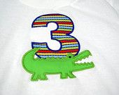 Alligator Crocodile Birthday personalized shirt or onesie with applique number and name